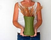 Autumn vase / olive green earthy Home Vase / Earth Tones Home Decor / textured concrete green vase