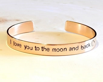 Bronze cuff bracelet - to the moon - 8th anniversary gift