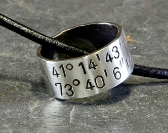 Latitude Longitude Sterling Silver Ring Necklace with Personalized Coordinates - RG414