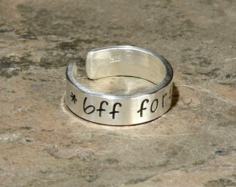 Sterling Silver BFF Forever Toe Ring - Solid 925 - Can be Custom Engraved - TR491