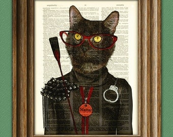 The Cat is a harsh mistress master Dominatrix Kitty BDSM Cat with crop dictionary page pride art print