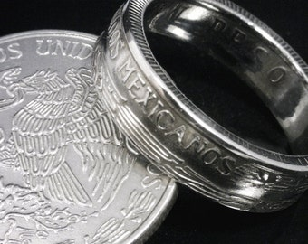 COIN RING  - Mexico Un Peso - Reverse Orientation - Sizes: 9 - 12.5  (Select Year & Size)