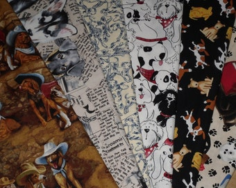 Fat Quarters~Six Fabrics with Dogs~Quilting Fat Quarter Bundle~Out of Print /Michael Miller-Alexander Henry-Timeless Treasures-Bryan Moon~
