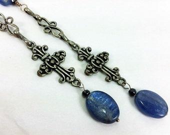 Blue Kyanite Filigree Cross Long Dangle Earrings