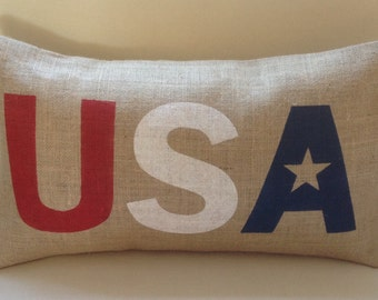 USA American red white blue star burlap (hessian) pillow hessian cushion cover