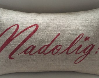 Welsh Nadolig Christmas burlap pillow hessian cushion cover