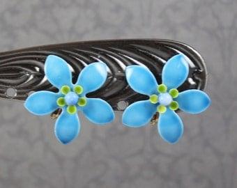 Vintage 1960s Blue and Green Enamel Flower Clip On Earrings