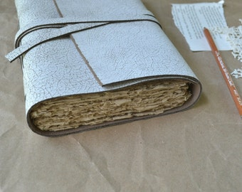 White Leather Journal with Handmade Paper