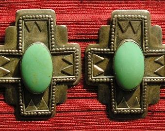 Southwest Sterling Silver Turquoise Santa Fe Style Cross Earrings