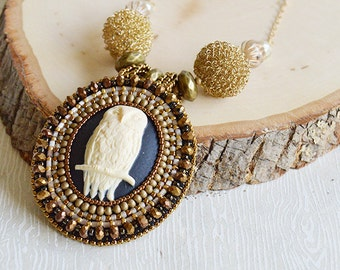 Golden Owl Bead Embroidery Necklace - Beadwork. Gold. Vintage-inspired. Victorian. Eclectic. OOAK. Pendant