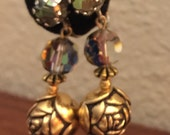Vintage Aurora Borealis Rhinestone Crystal Prisms Screwback Earrings Dangle Drop Carved Rose Silver and Gold Tone