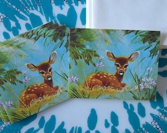 Vintage Box of 6 Baby Deer Cards