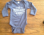 onesie newborn to 18 months clothing quote  grey screen printing
