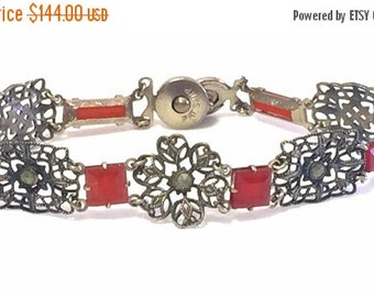 Valentines Lovers SALE Elegant  French  Circa pre 1920s Art Nouveau Art Deco Open Back Carnelian Art Glass  Filigree Vintage Bracelet Art No