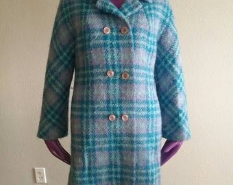 Vintage Plaid coat / Vintage Plaid Jacket / Vintage Tweed Mohair Plaid stripes jacket
