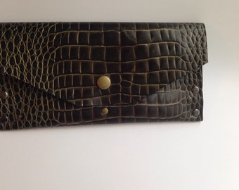 Deep Green and Gold Alligator Clutch
