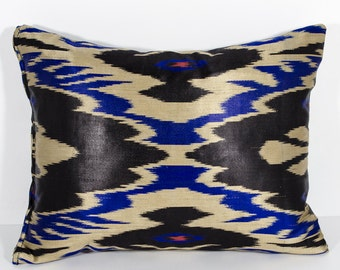 16x14 black blue ikat pillow cover, lumbar ikat, pillow, long pillow, black blue, uzbek ikat, ikat cushion, pillow, black blue pillows