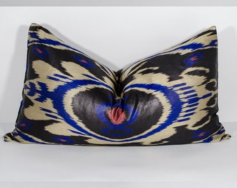 24 x14 SALE black blue ikat pillow cover, lumbar ikat, pillow, long pillow, black blue, uzbek ikat, ikat cushion, pillow, black blue pillows