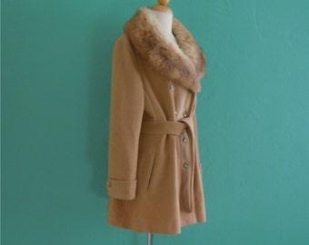Coat Sale ~ vintage 70's penny lane coat // fox fur collared belted coat ~ small medium (was 88)