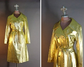 1970s coat 70s Vintage METALLIC GOLD COAT glam shiny gold lamé trenchcoat jacket