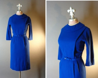 50s dress 1950s vintage COBALT BLUE SVELTE hourglass wool detailed curvy dress Joan new old stock