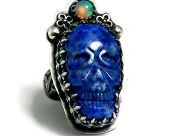 Gothic Skull Ring, Sterling Silver Blue Lapis Skull Ring, Fire Opal Jewelry,Day of the Dead Jewelry, Statement Ring