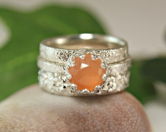 Peach Moonstone Stacking Ring, Rose Cut Peach Moonstone Ring, Vintage Style Floral Band, Sterling Silver Ring