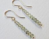 Moss Aquamarine Earrings - Beaded Bar Earrings Dangle Earrings Beadwork earrings Stick Earrings