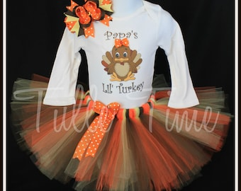 Papa's Lil' Turkey Thanksgiving top shirt tutu dress outfit with bow sizes 2t 3t 4t 5t 6 7/8