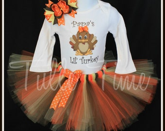 Papa's Lil' Turkey first 1st Thanksgiving  body suit onesie tutu dress outfit with bow sizes newborn, 0-3m, 3-6m, 6-12m 12m 18m