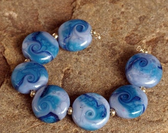 Handmade Blue Lampwork, Lentil Bead Set