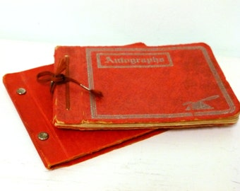 Vintage Red 1930's Autograph Books Poems Drawings Sentiments School Friends Signatures