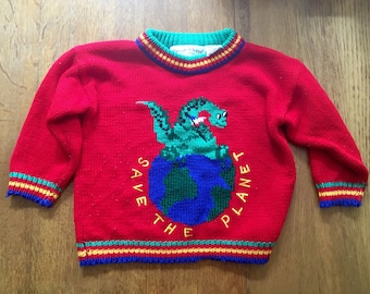 Vintage Save The Planet Sweater by The Eagles Eye. 4T. Fall Sweater. Back to School Fashion. Children's Sweater. Hippie Ugly Sweater. Dino
