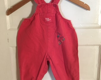 Vintage Pink Overalls. Bubble Gum Pink Baby B'Gosh Overalls. Size 18m. Vintage Baby, Toddler Clothes. Oshkosh B'Gosh. VestBak. Flowers