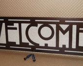 Arts and Craft Welcome sign. Four Square House. Craftsman. Bungalow, Mission Style, Wall Sign, Metal Art, Solid Steel, Powder Coated