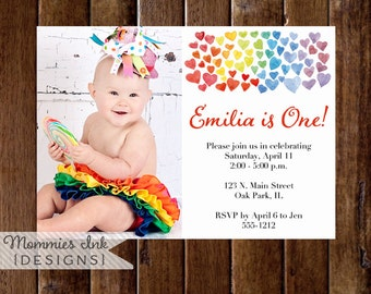 Watercolor Hearts Birthday Party Invitation, Watercolor Hearts Invitation, Heart Invitation, Rainbow Invitation, Kids Party Invite, Rainbow