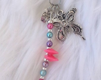 Butterfly zipper pull/ purse charm /pastel beaded/ pink blue purple/ nature animal/ butterfly lover gift/ zipper pull, RTS Item# CJF22-1036