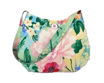 Flower purse, Summer Purse, Spring handbags, pink green fabric, floral colorful purse, cotton fabric, casual bag, RTS, Item #CJF79-1002