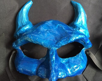 Blue Devil Paper Mache Mask