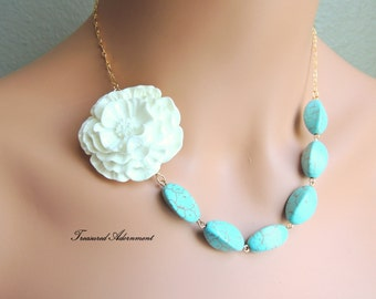 Flower Necklace, Turquoise Necklace, White Flower, Asymmetrical Necklace, Ramadan Eid gift, Birthday gift, Thank you gift, Bridal Necklace