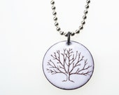 Tree Necklace. Winter Tree on Snowy White Enamel Circle Pendant on Stainless Steel Ball Chain Necklace. Vitreous Enamel Jewelry.