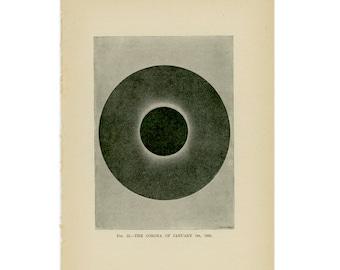 1897 ANTIQUE SUN CORONA lithograph original antique celestial astronomy print
