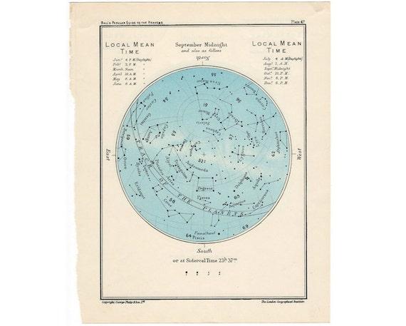 1955 SEPTEMBER or OCTOBER original vintage star map celestial astronomy month print