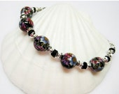 SALE Spring Flowers Bracelet - Floral Bracelet - Black Bracelet - Womens Bracelet - Beaded Bracelet - Gift for Her - Flower Jewelry - Casual