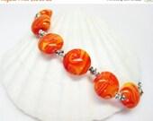 SALE Orange Creamcycle Bracelet - Orange Glass Bracelet - Summer Bracelet - Beach Jewelry - Womens Bracelet - Colorful Bracelet - Orange Jew