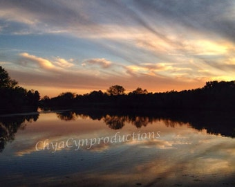 "Mirrored Series ""Lakeside""  Unframed Photography Giclée Print. ChyaCyn productions. Art Wall Photo. Lake Forest Nature Landscape Tress Water"