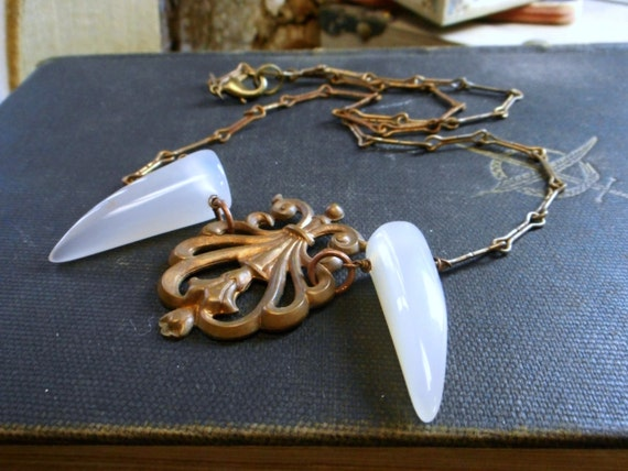 GHOST FANG.  Ghost White Agate Fangs and antiqued brass flourish element. Gothic Vampire Necklace