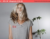 Winter Sale 15% Off!!! A line light grey strips wool mini dress with pockets