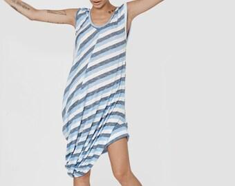 SALE 40% blue and white striped dress - tank top women summer tops - stripe dress - summer tunic tops - long tunic dress - TankDress SUMMER
