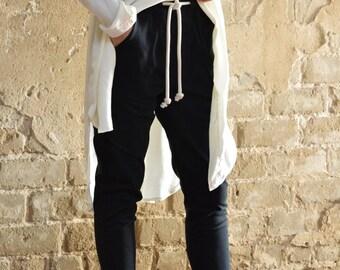 Black tying stone washed denim cotton baggy pants- black extravagant sexy pants